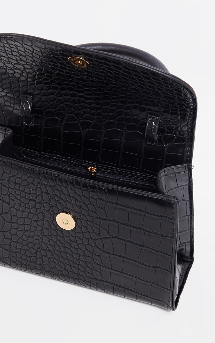 Black Croc Single Handle Cross Body Bag 4