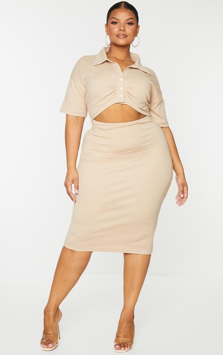 Plus Stone Thick Rib Cut Out Midi Dress 1