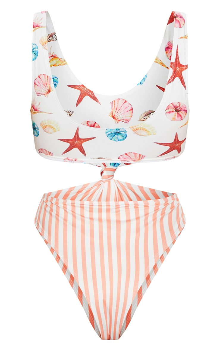 Shells & Stripes Knot Front Swimsuit 4