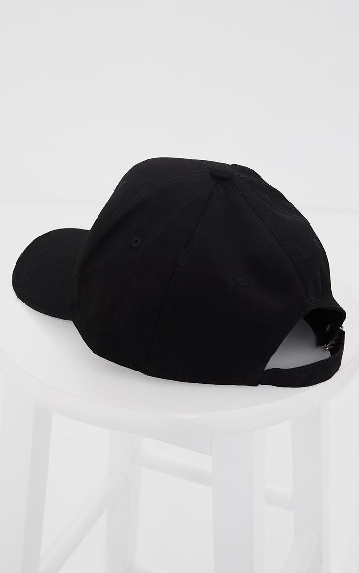 PRETTYLITTLETHING Black Embroidered Baseball Cap 3