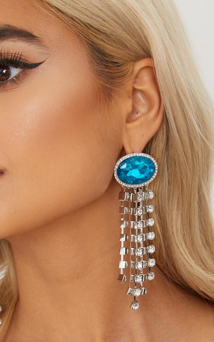 Blue Diamante Tassel Earrings 1