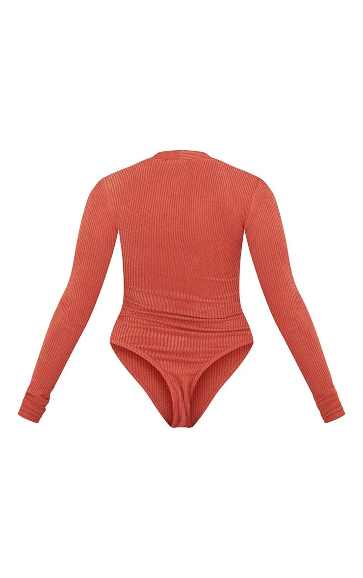 Petite Terracotta Brushed Rib Long Sleeve Square Neck Bodysuit 6