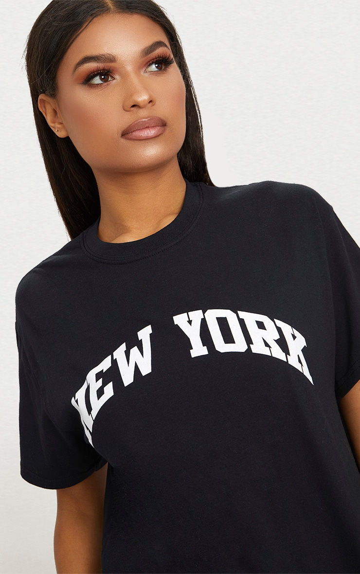 Black New York Slogan Oversized T Shirt 5