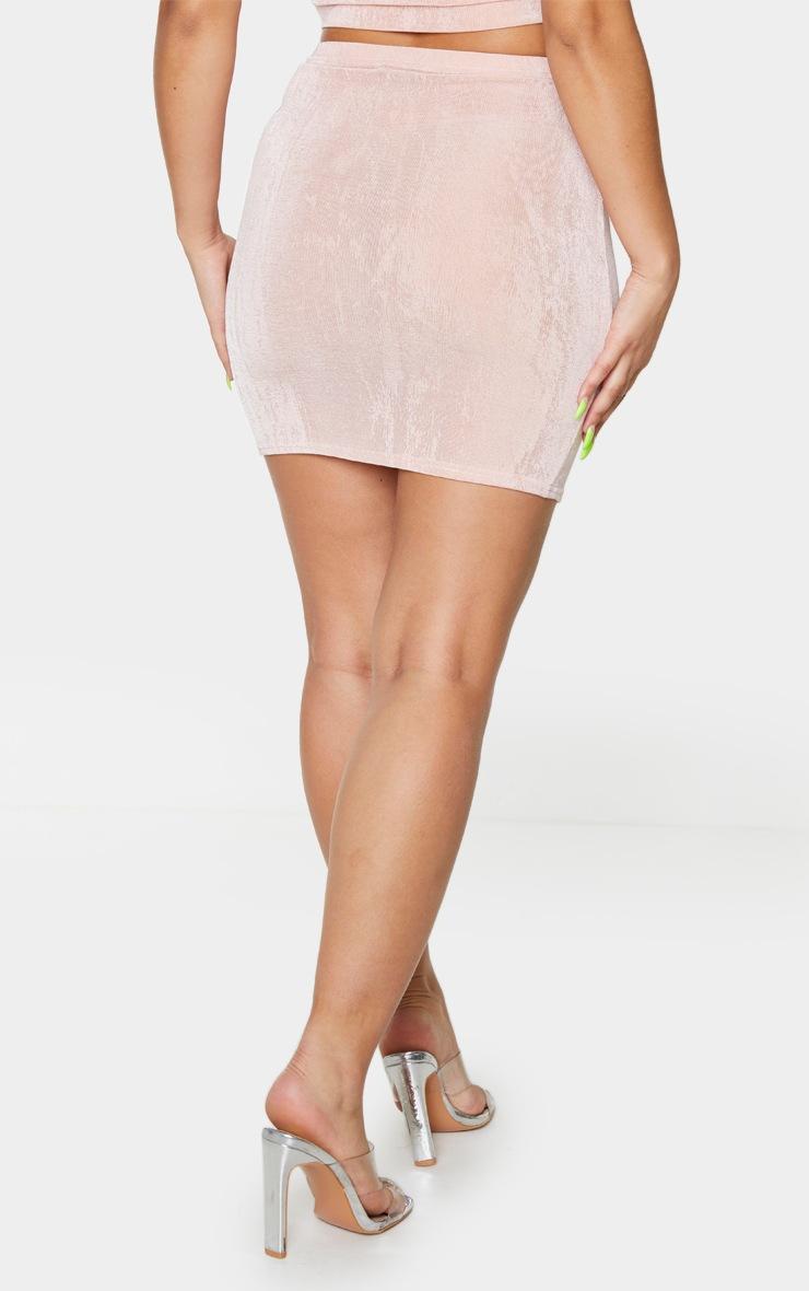 Blush Slinky Acetate Ruched Side Mini Skirt 3