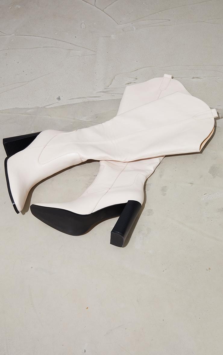 Cream PU Square Toe Curved Edge Knee High Boots 4
