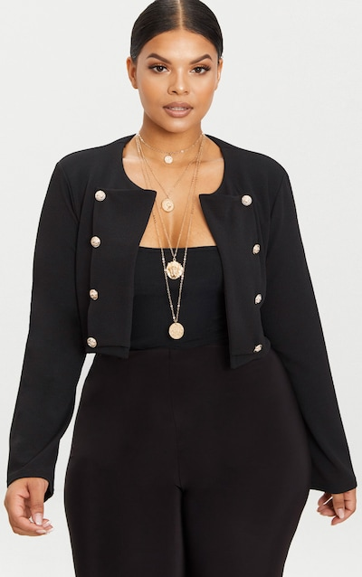 Plus Black Military Cropped Jacket