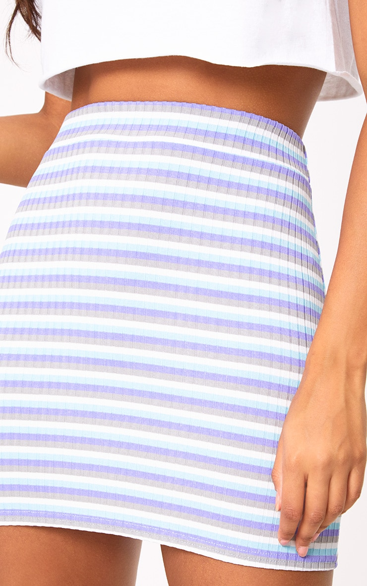 Lilac Ribbed Stripe Mini Skirt 6