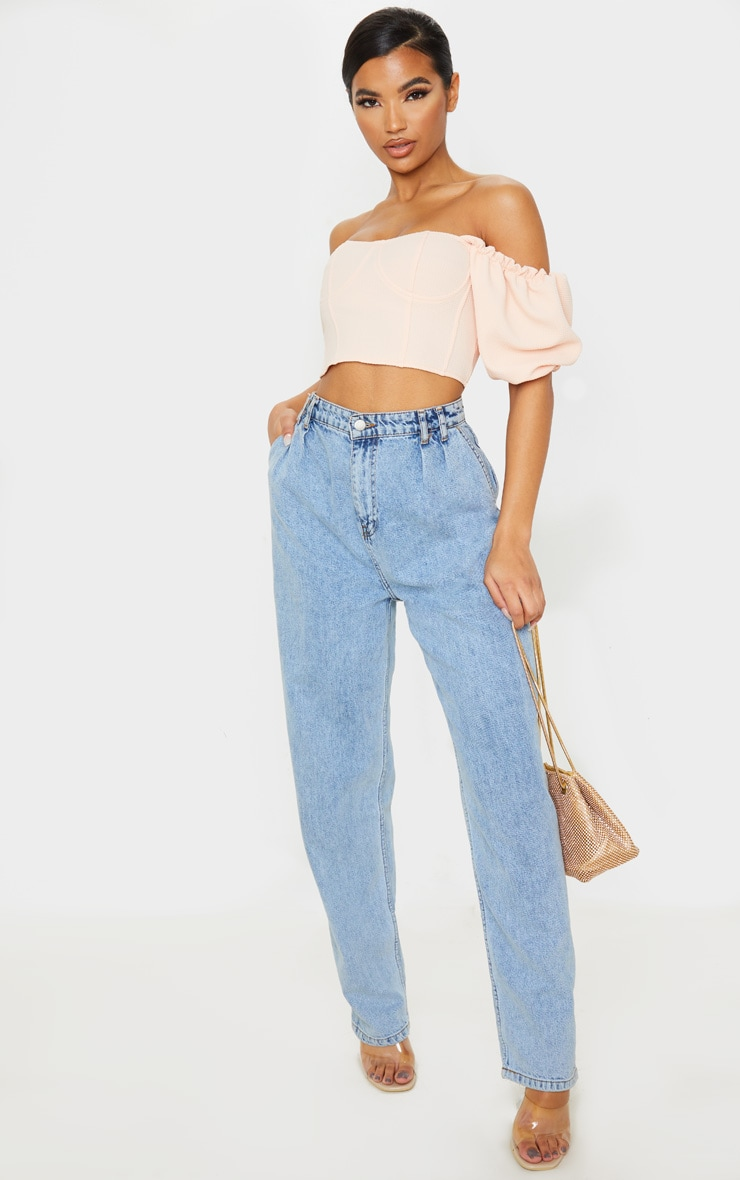 Nude Textured Crepe Bardot Puff Sleeve Crop Top 4