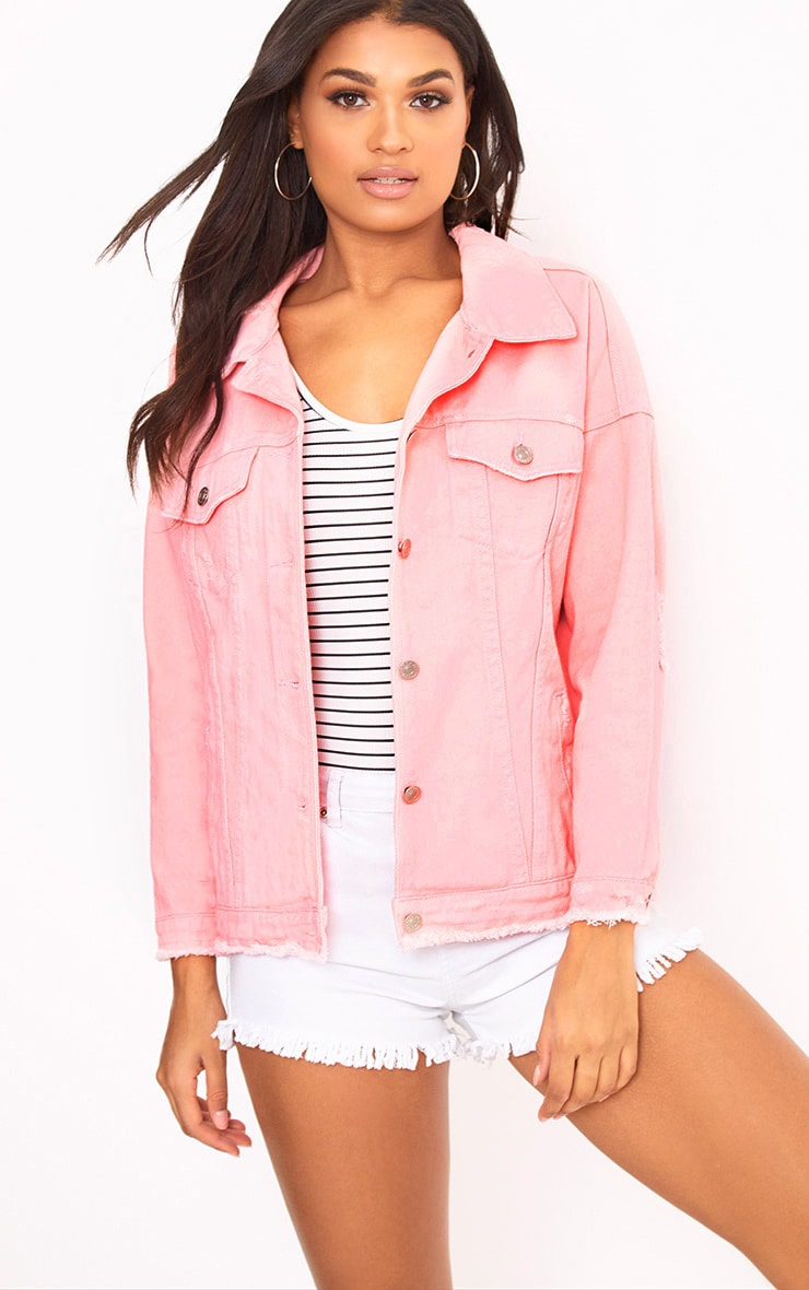 Pink Oversized Fray Hem Denim Jacket 1