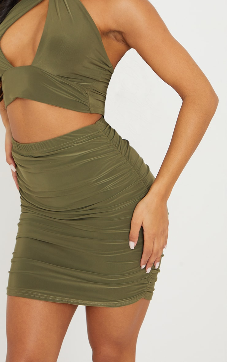 Olive Green Slinky Ruched Side Mini Skirt 5