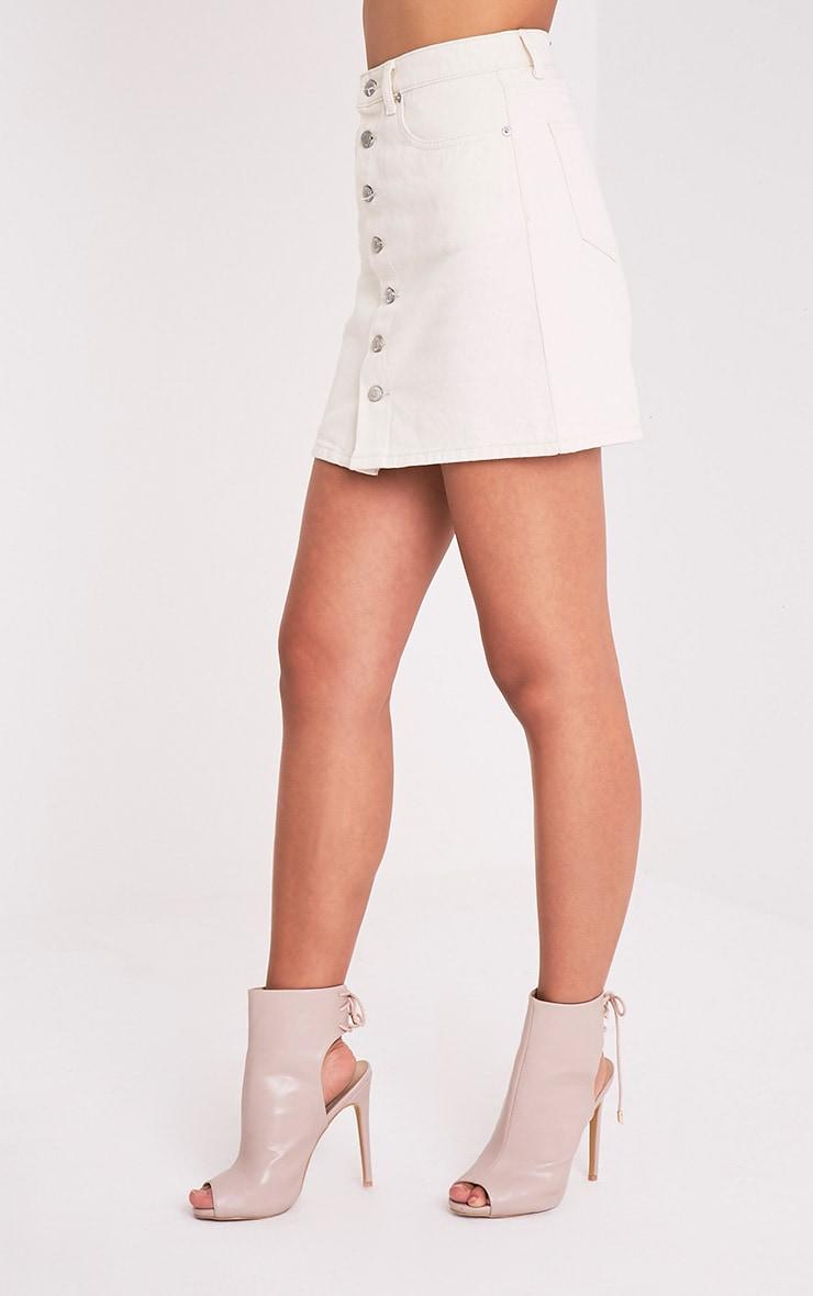 Emelian Stone Button Through Mini Skirt 4