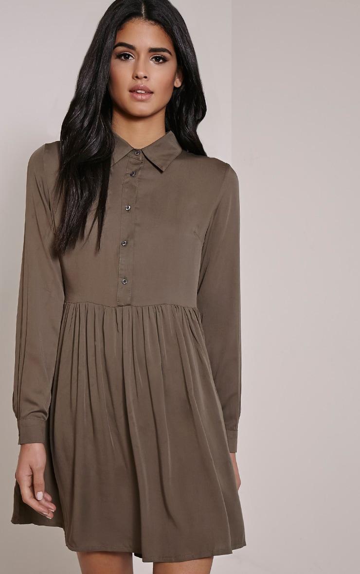 Marcia Khaki Long Sleeve Shirt Dress 1