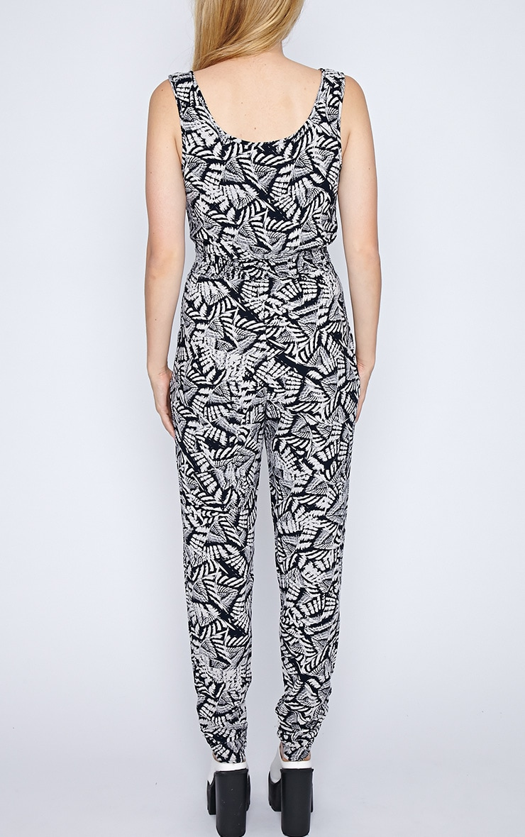 Isa Black And White Aztec Jumpsuit  2