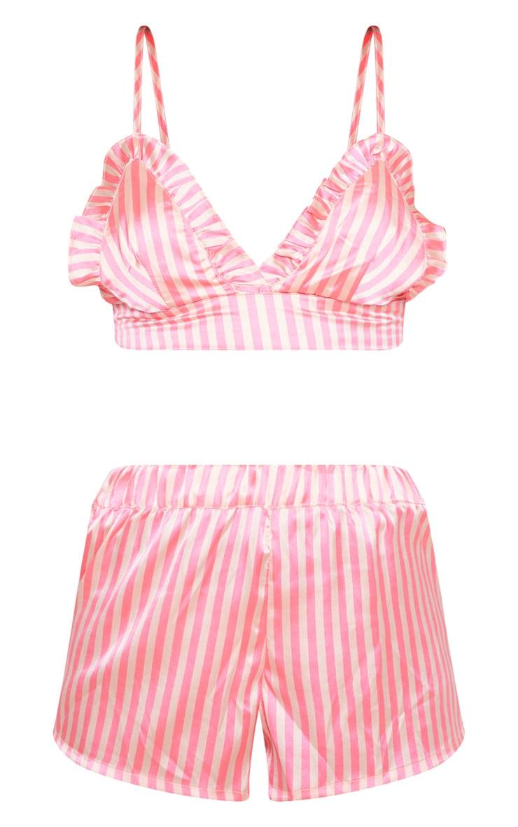 Pink Stripe Satin Frill Bralet PJ Set 3