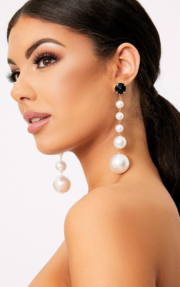 Halie Long Pearl Drop Earrings 1