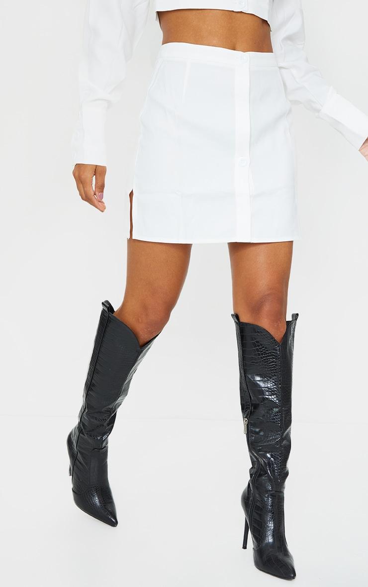 White Button Front Extreme Mini Skirt 2
