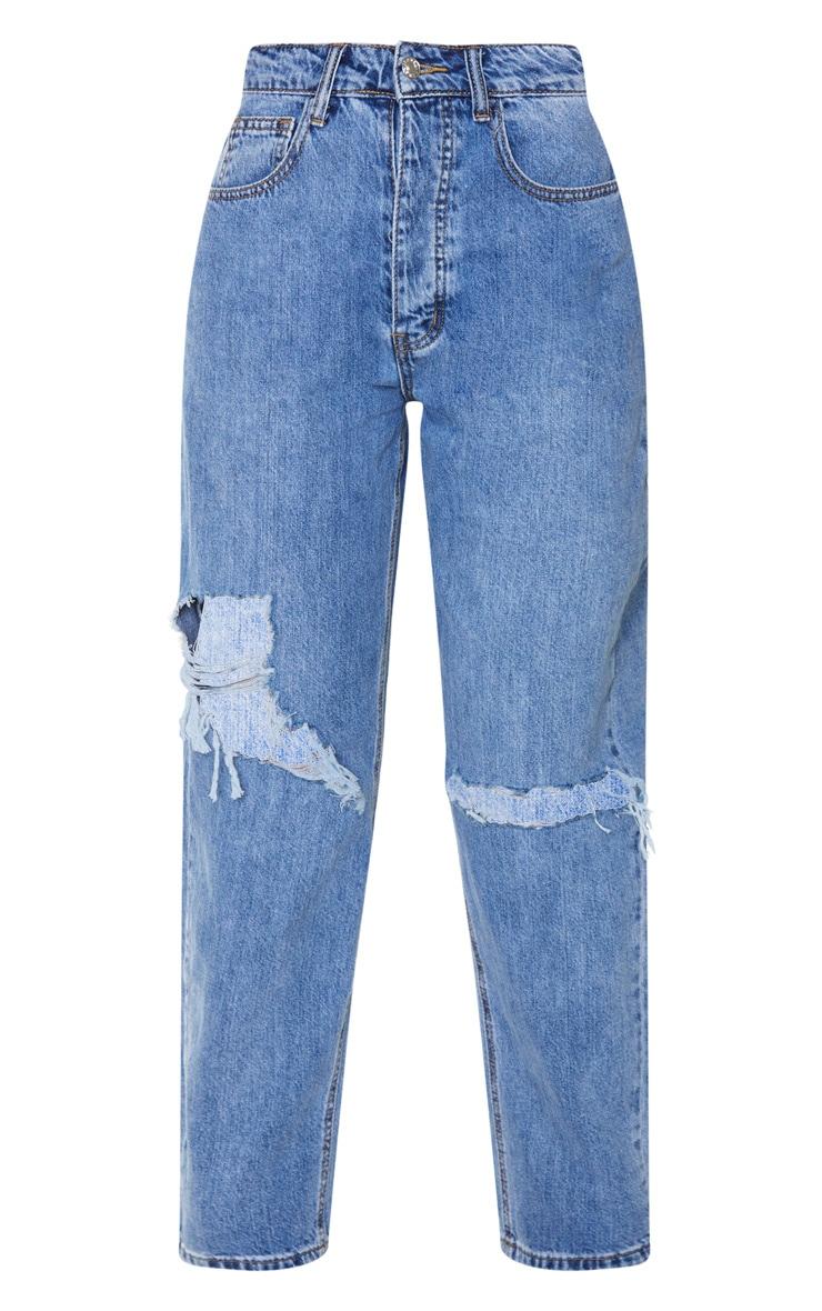 PRETTYLITTLETHING Mid Blue Tall Knee Rip Boyfriend Jeans 5