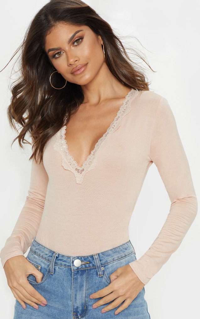 Nude Lace Trim Plunge Long Sleeve Bodysuit 1