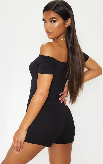Black Bardot Ruched Front Playsuit