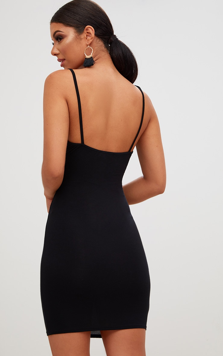 Black Twist Front Bodycon Dress 2