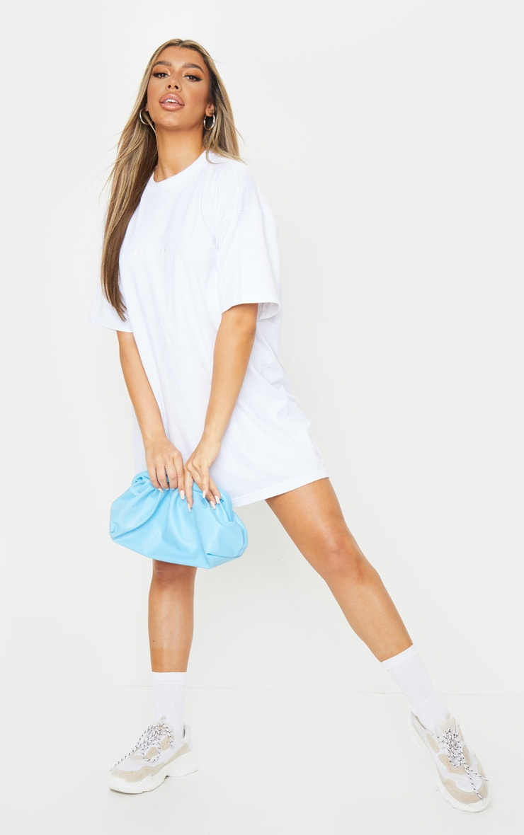 White Self Made Slogan Boyfriend T Shirt Dress 3