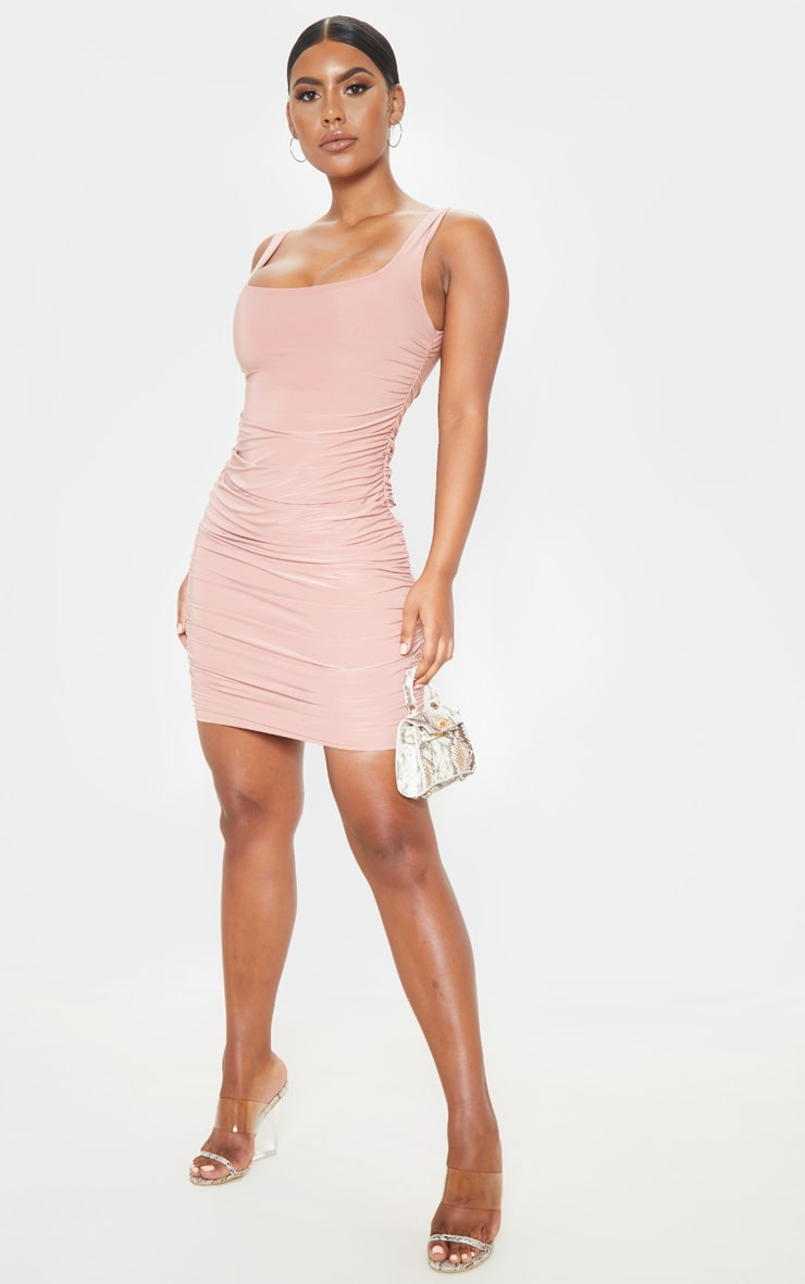 Dusty Rose Slinky Ruched Sleeveless Bodycon Dress 4