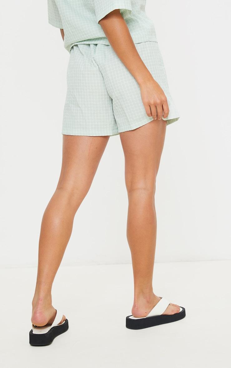 Petite Sage Green Checked Longline Shorts 3