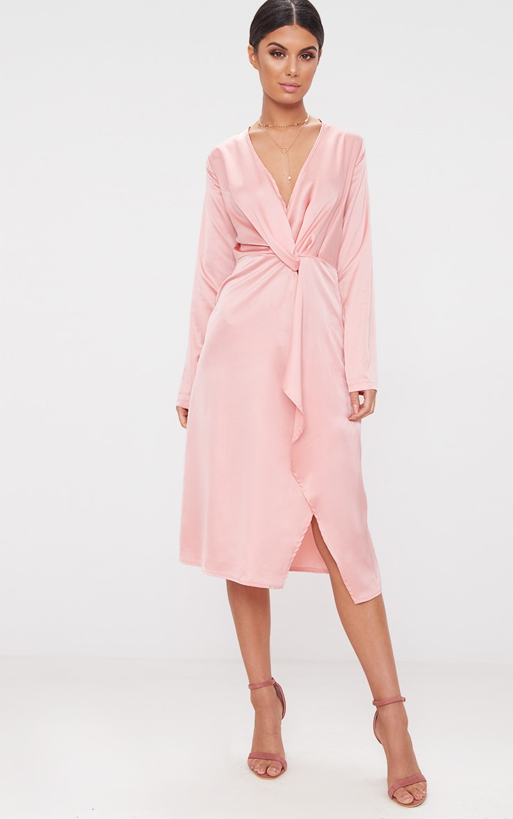 Blush Satin Long Sleeve Wrap Midi Dress 1