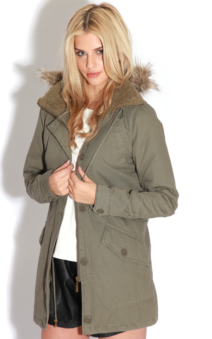 Jameel Khaki Coat With Grey Fur Lined Hood 3