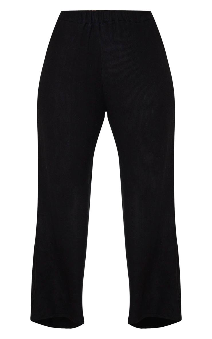 Plus Black Brushed Rib Wide Leg Trouser 3
