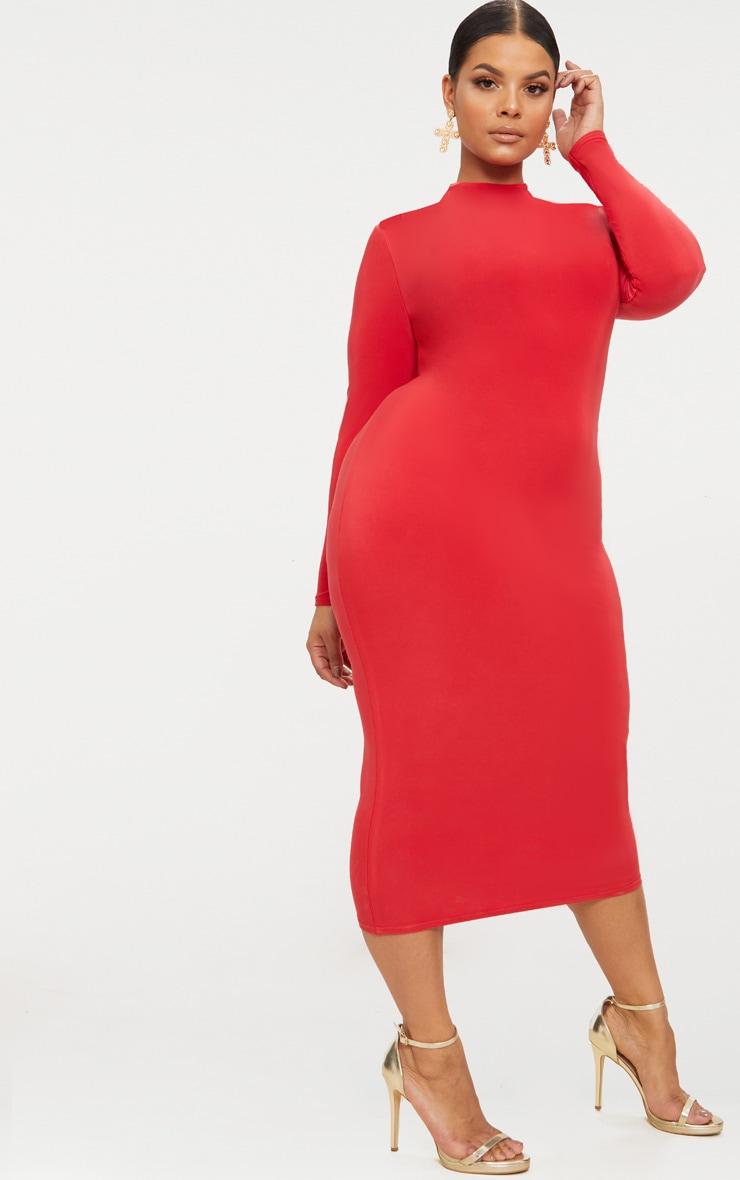 Plus Red Double Layered Slinky High Neck Midaxi Dress 4
