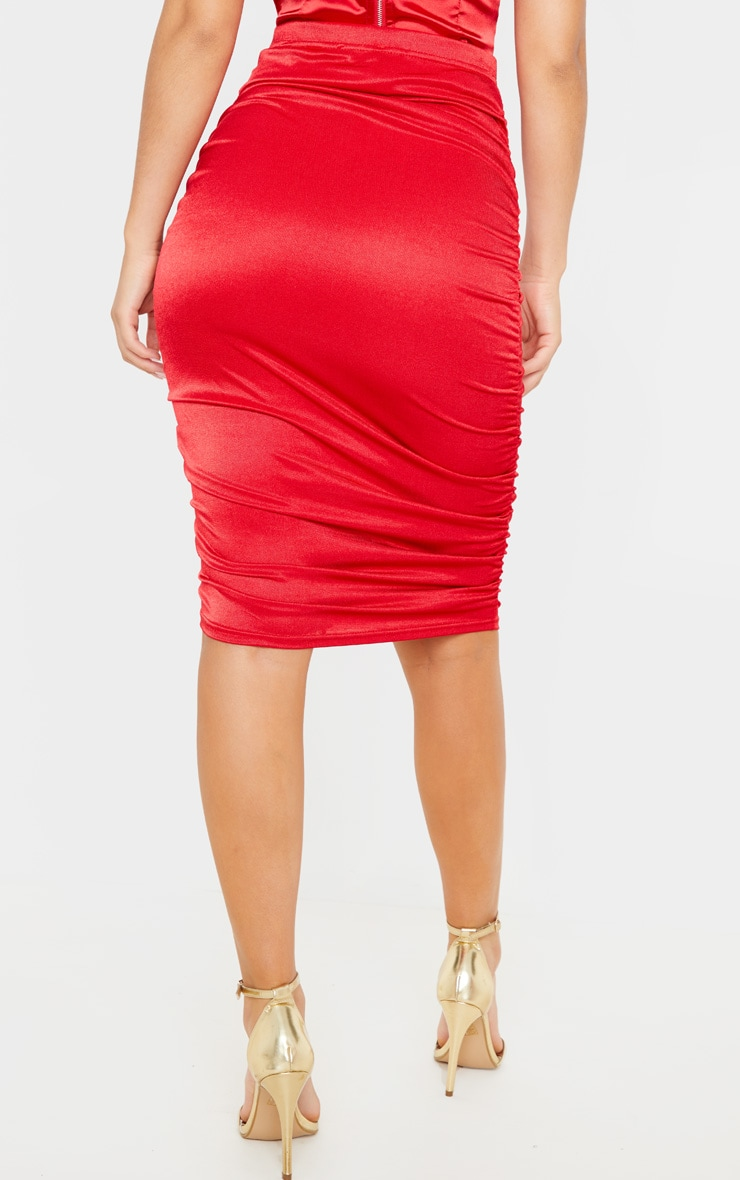 Deep Red Metallic Slinky Ruched Midi Skirt 4