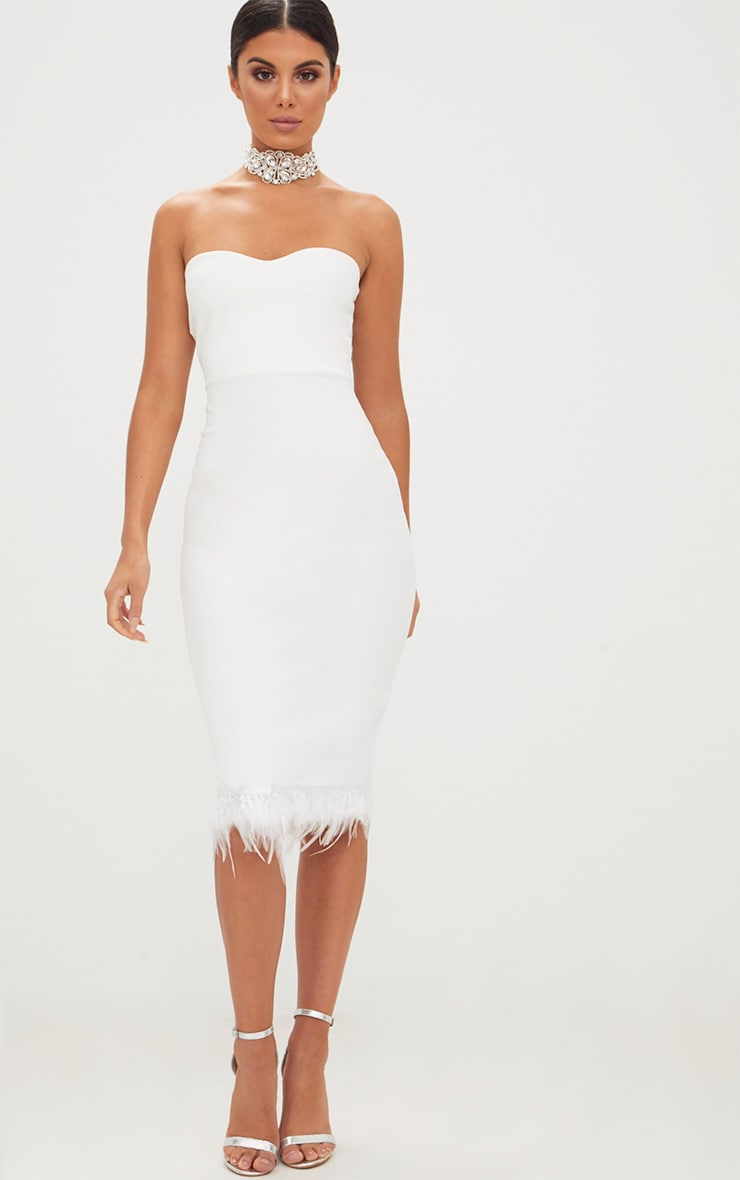 White Bandeau Feather Hem Midi Dress Prettylittlething Usa