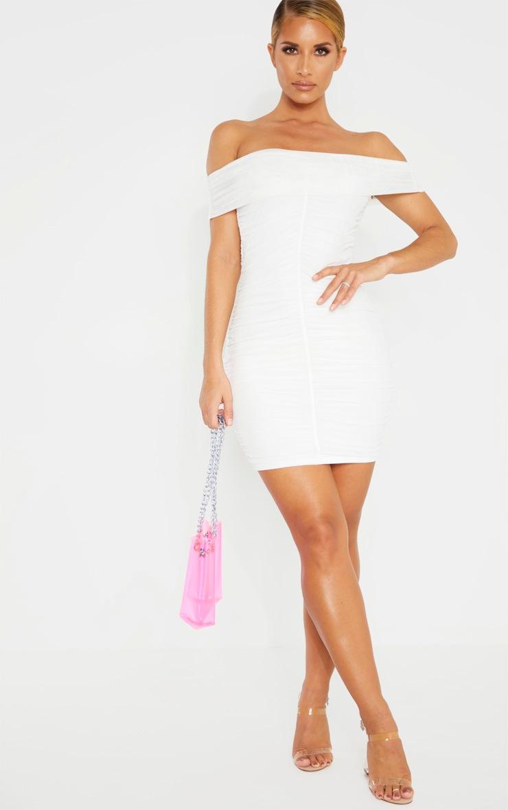 White Mesh Bardot Ruched Bodycon Dress 4