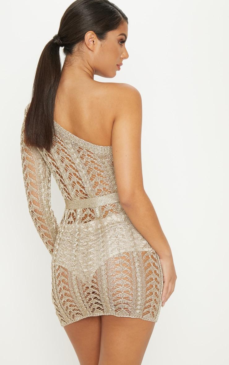 Gold Metallic Knitted Detail One Shoulder Mini Dress  2