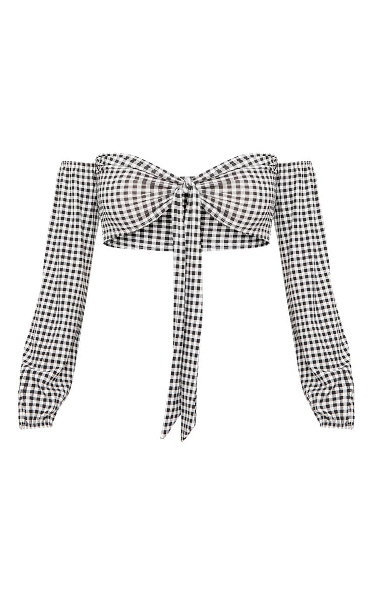 Black Gingham Bardot Tie Front Puff Sleeve Crop Top 3