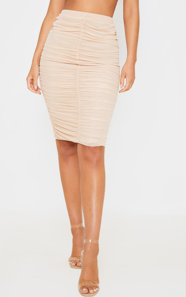Nude Mesh Ruched Midi Skirt 2