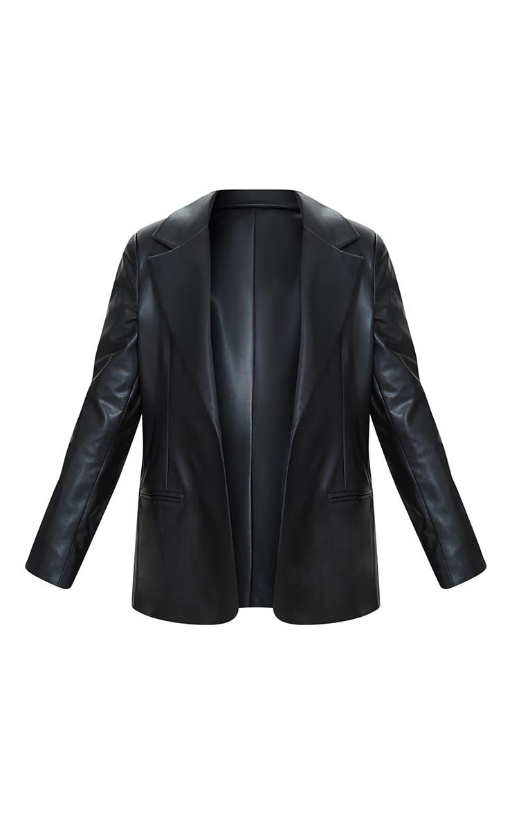 Plus Black Premium Faux Leather Blazer 5