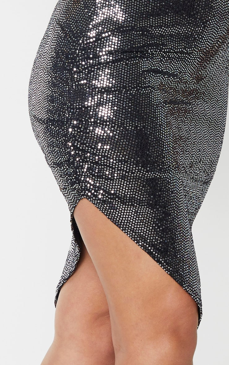 Silver Strappy Glitter Ruched Side Detail Midi Dress 5