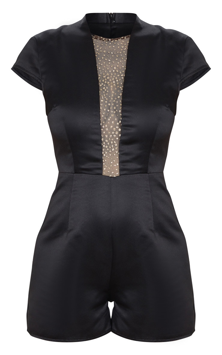 Black Satin Glitter Mesh Plunge Playsuit 3