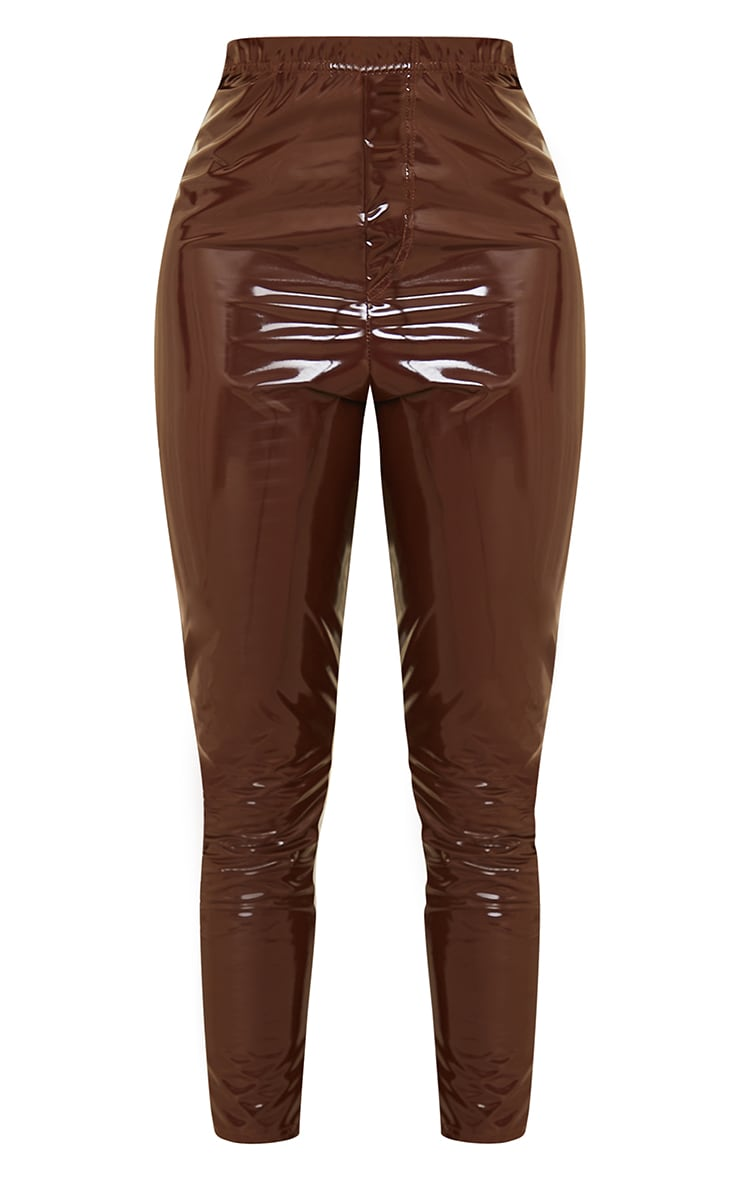 Tall Chocolate Vinyl Pocket Detail Skinny Trousers 5