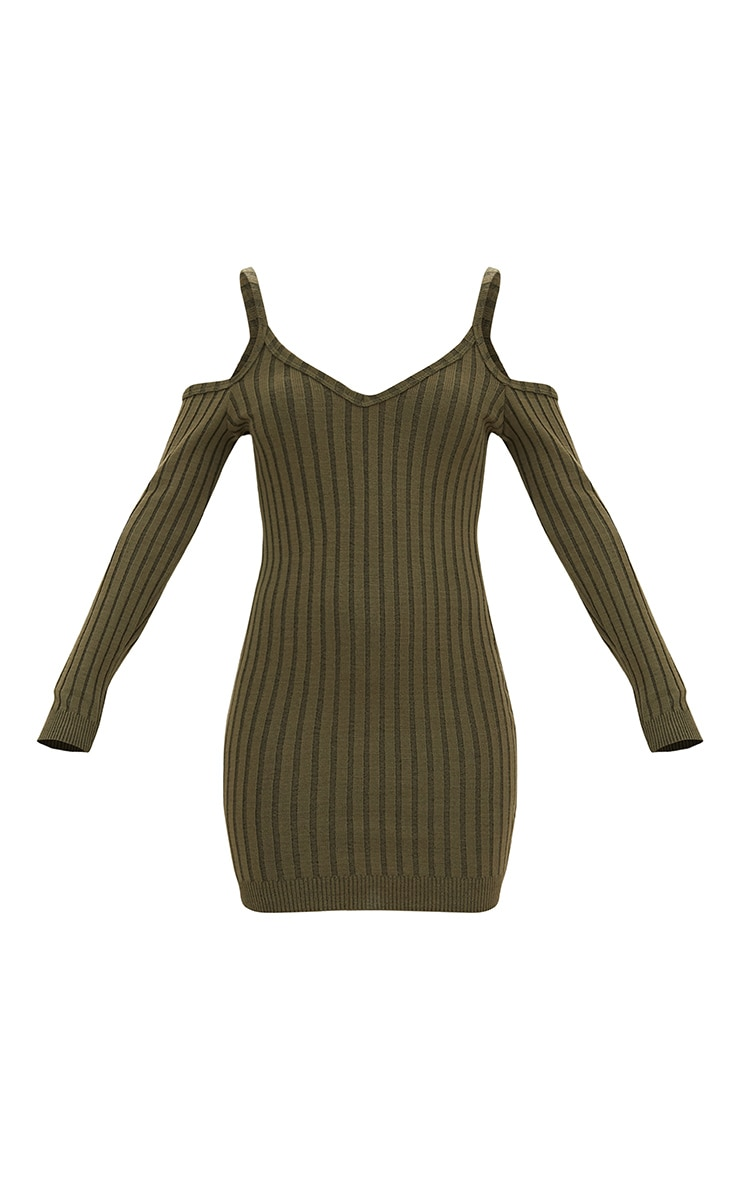Khaki Cold Shoulder Knitted Mini Dress  3