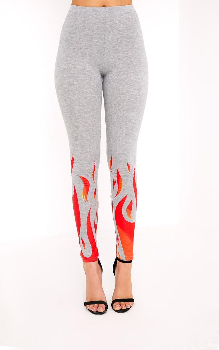 Flame Print Grey Marl Leggings 2