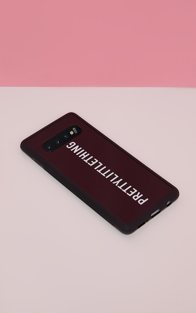 PRETTYLITTLETHING Black Logo Samsung S10 Phone Case