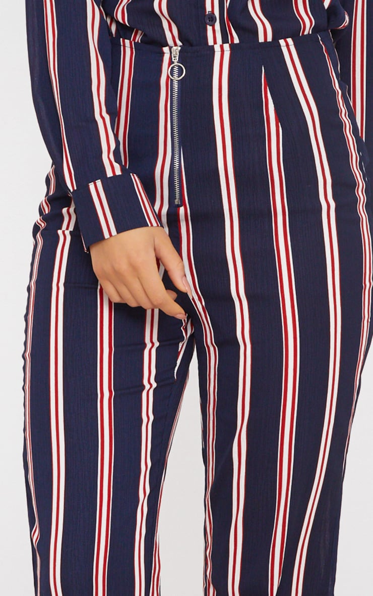 Navy Stripe Ring Zip Cropped Trousers 5