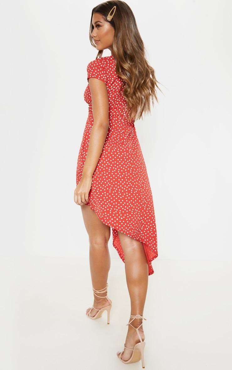 Rust Polka Dot Twist Front Asymmetric Hem Midi Dress 2