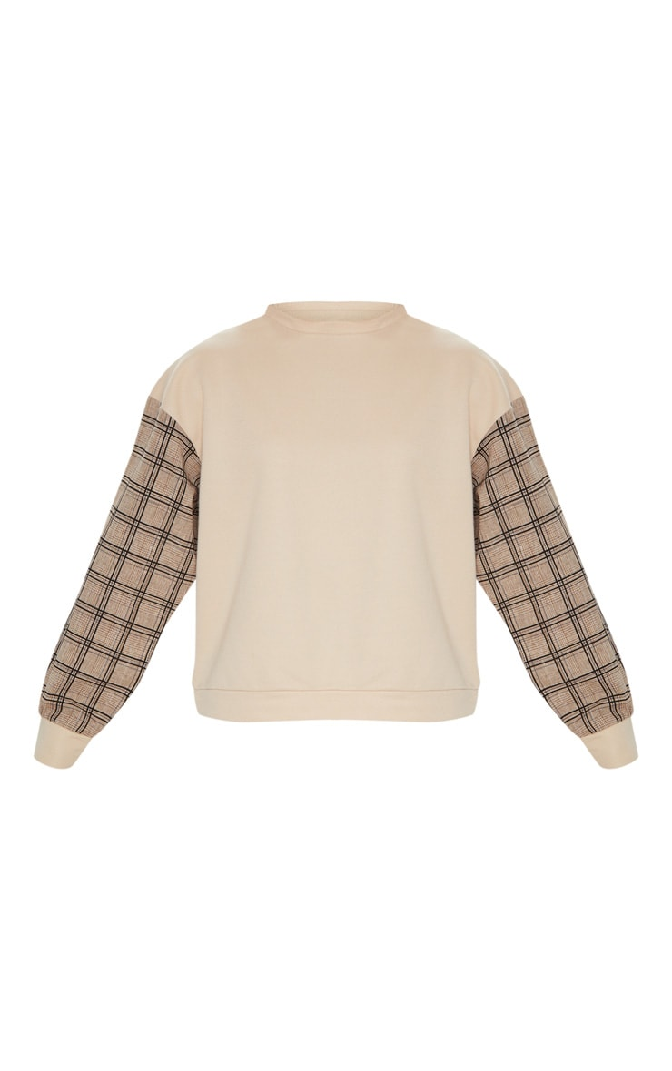 Sand Contrast Check Sleeve Sweater 3