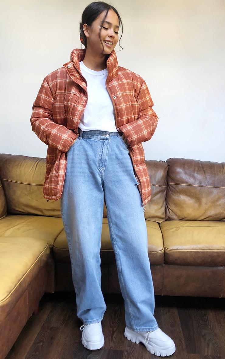 Rust Nylon Checked Oversized Puffer Jacket 3