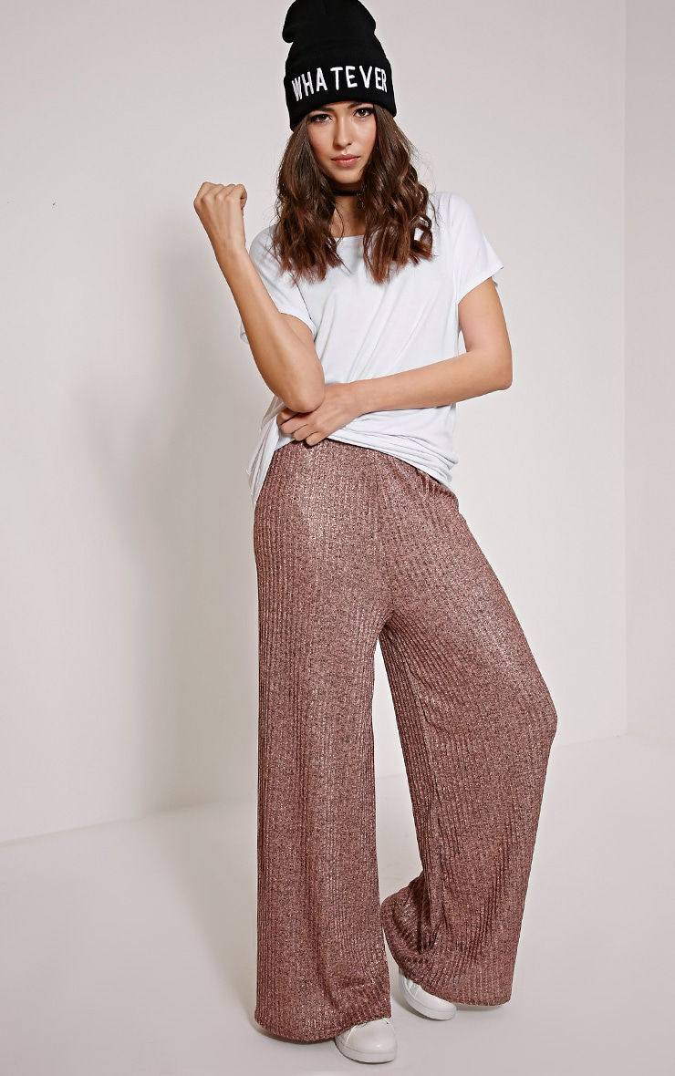 Nora Bronze Metallic Rib Flared Trousers 1