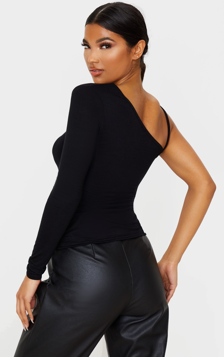 Black Basic Jersey One Shoulder Strap Top 2